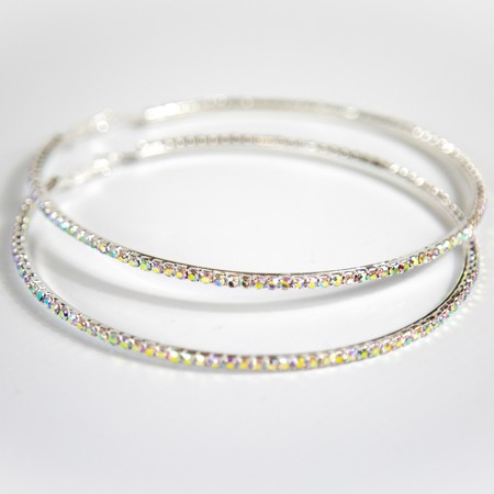 Silver Diamante Large Hoop Earings