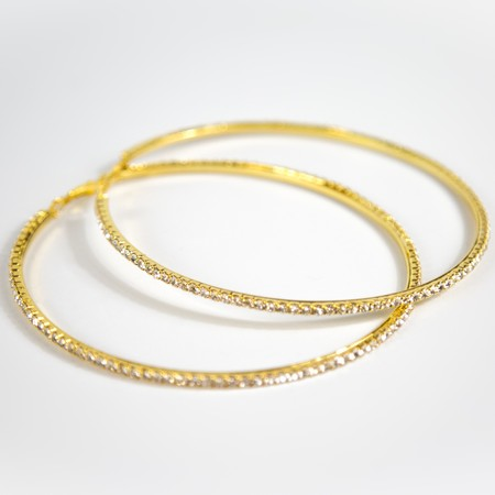 Gold Diamante Large Hoop Earings