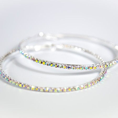 Silver Diamante Medium Hoop Earings