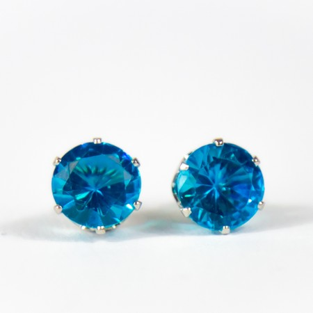 Sky Blue Gem Stud Earings