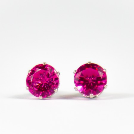 Hot Pink Gem Stud Earings