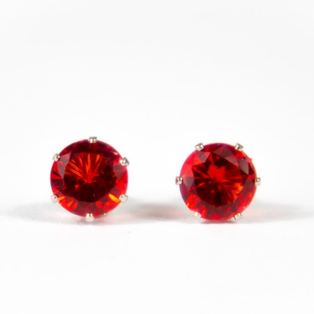 Red Gem Stud Earings