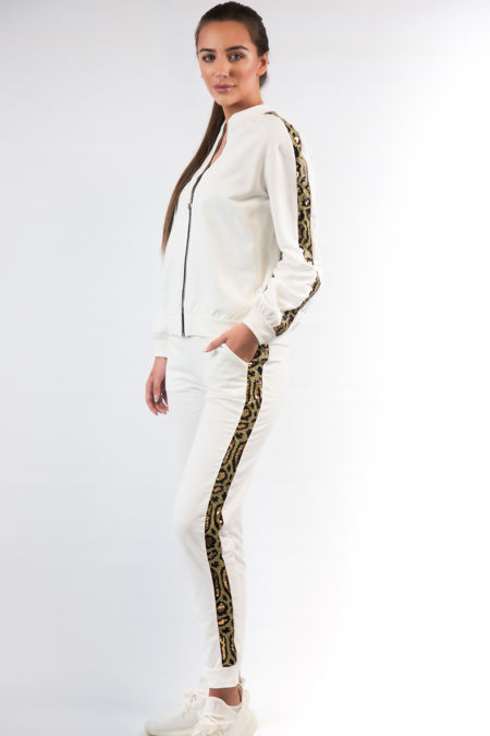 Creme Sequin Leopard Lougewear Set