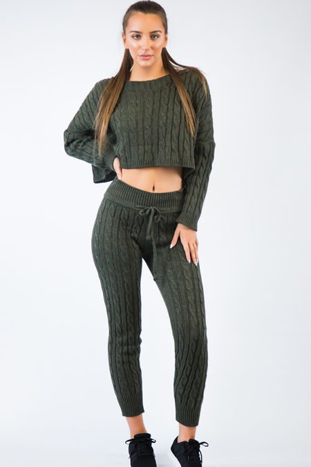 Khaki Knitted Short Loungewear Set