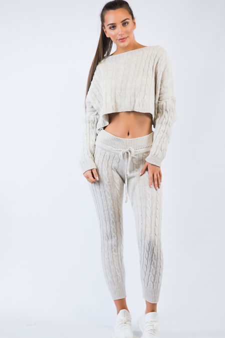 Cream Knitted Short Loungewear Set