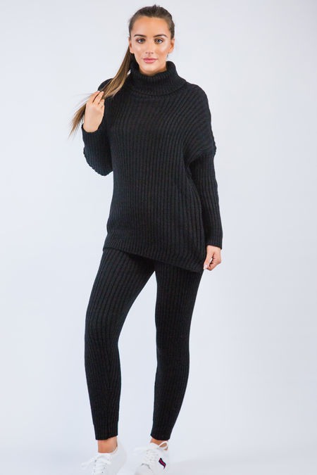 Black Knitted Long Loungewear Set