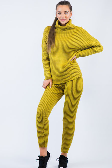 Mustard Knitted Long Loungewear Set