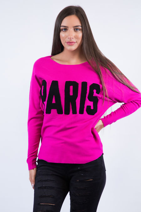 Hot Pink Paris Slogan Jumper