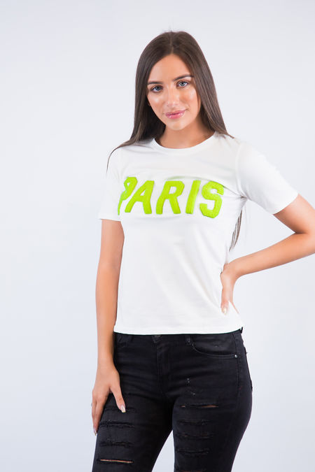 Paris White T Shirt Lime Slogan