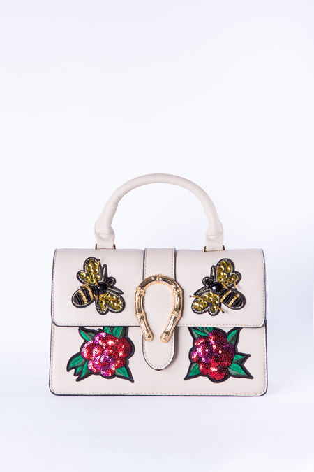 Cream floral sequin hand bag
