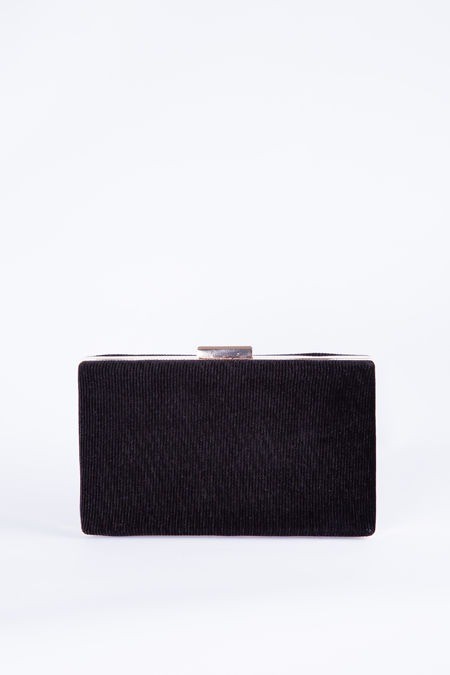 Black Luxury Rectangle Clutch bag with gold outline