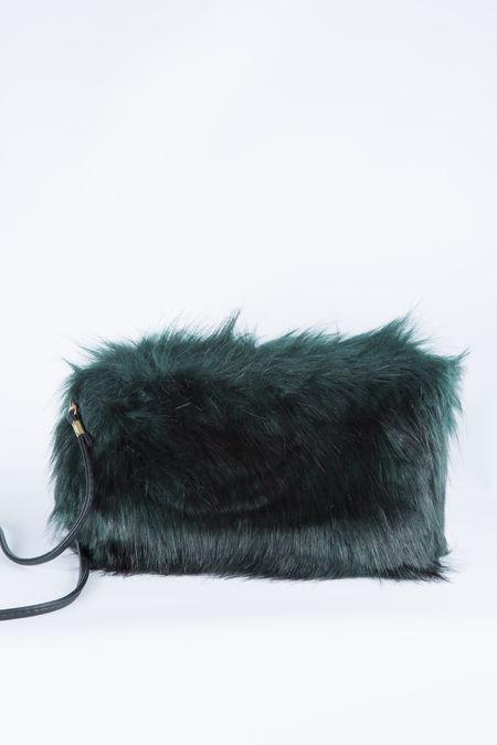 Green feather shoulder clutch bag