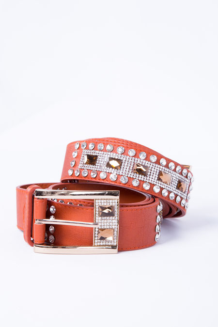 Orange Diamante Belt