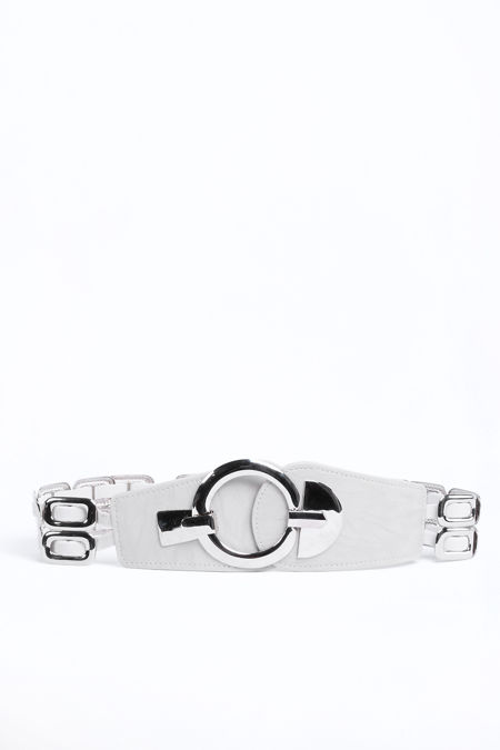 White Silver Buckle Belt