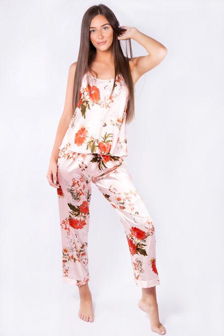Peach Floral Satin Pyjama Set