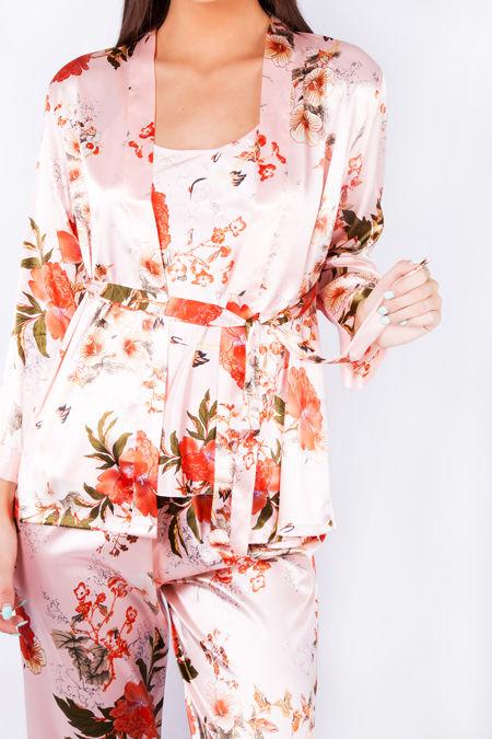 Peach Floral Satin Robe