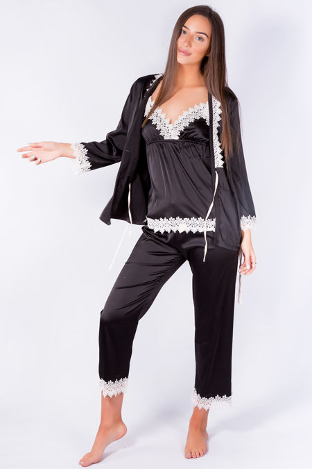 Silky Nights Black Pyjama Robe