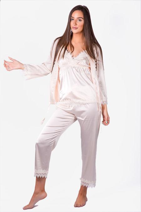 Silky Nights Cream Pyjama Robe