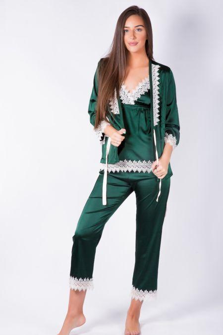 Silky Nights Bottle Green Pyjama Gown