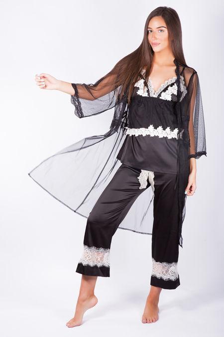 Luxury Nights Black Net Robe