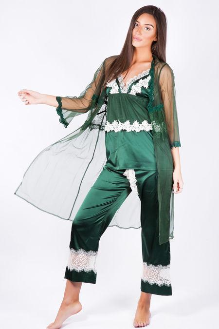 Luxury Nights Bottle Green Net Robe