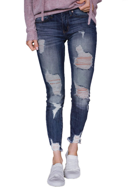 Slate Blue Wash Distressed Jeans