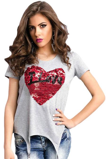 Love Heart Grey T Shirt