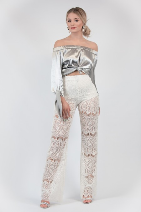 Lace Trousers White