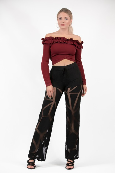Wide Design Lace Trousers