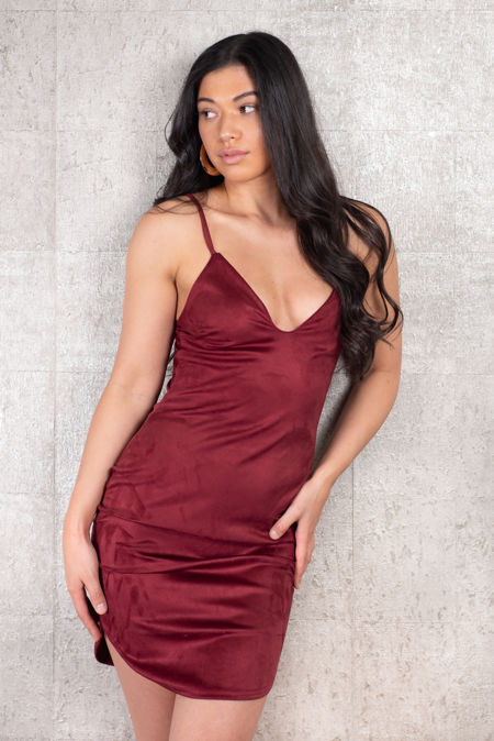 Wine Suede Dress