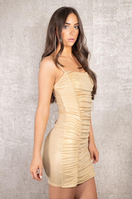 Shimmer Gold Rushed Dress