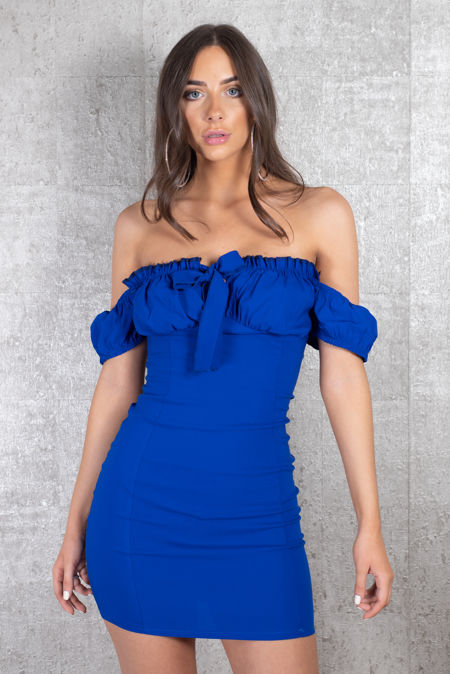 Offshoulder Tie Royal Blue Dress