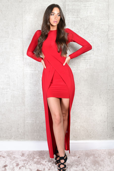 Girl Power Cross Front Red Maxi Dress