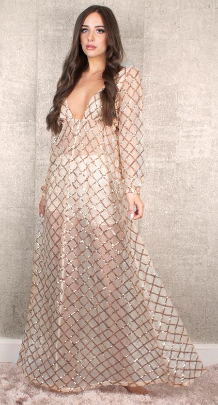 Gold Sequin Net Dress