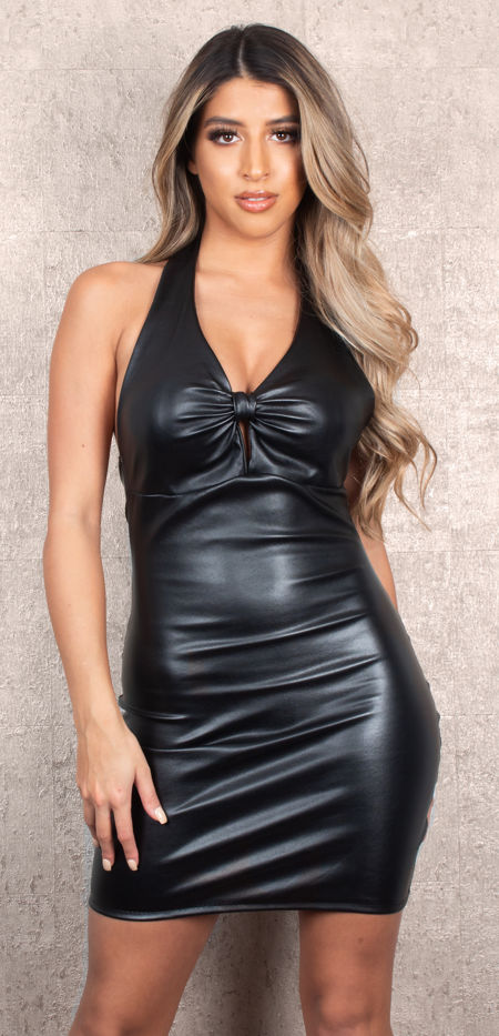 Leather Bow Black Dress