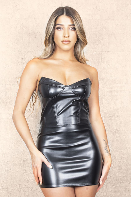 Pointy Black Leather Dress