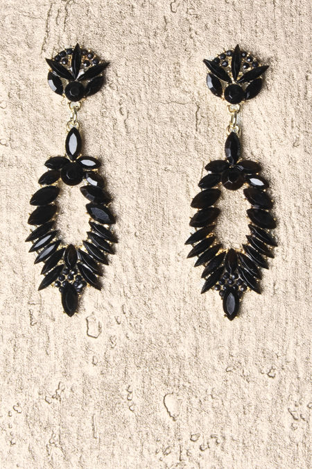 Black Diamante Earrings
