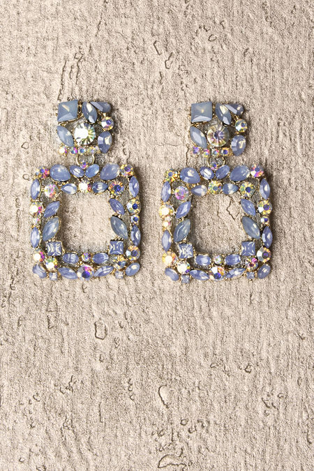 Sky Blue Square Diamante Earrings