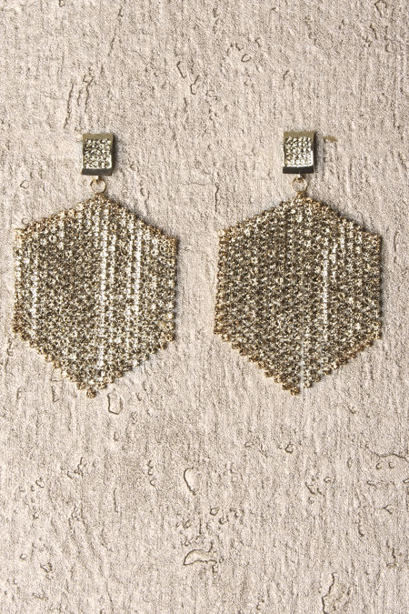 Gold Stone Hexagon Earrings