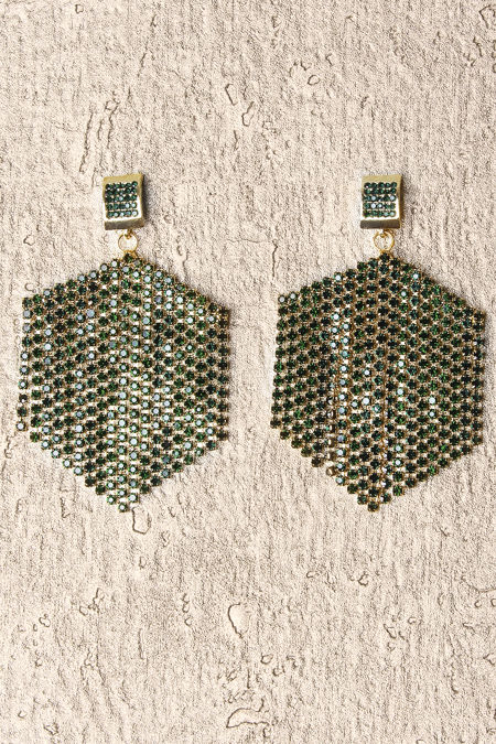 Bottle Green Stone Hexagon Earrings