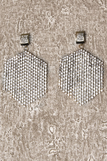 Silver Stone Hexagon Earrings