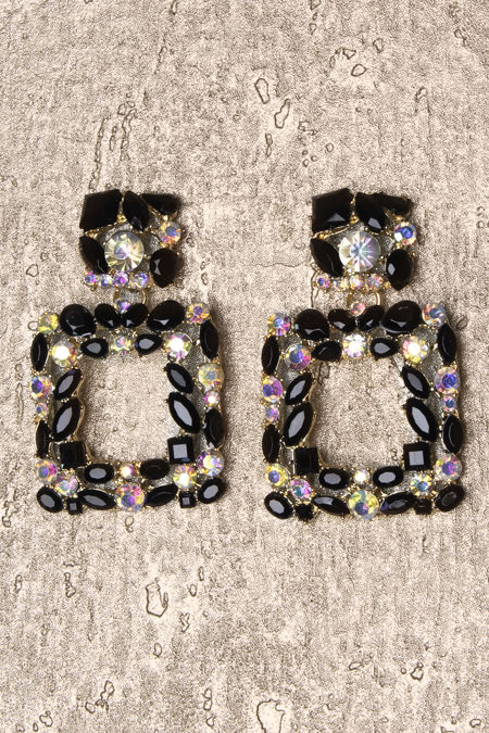 Black Square Diamante Earrings