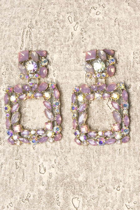 Pink Diamante Square Earrings