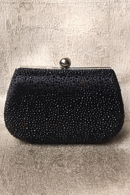 Black Diamanté Oval Clutch