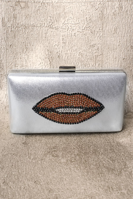 Silver Shine Kiss Diamanté Clutch Bag