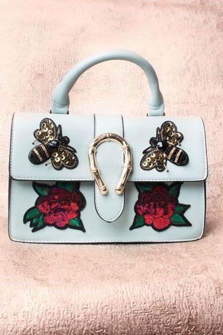 Mint Floral Sequin Handbag