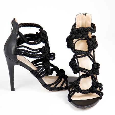 Black Woven Patter Heels