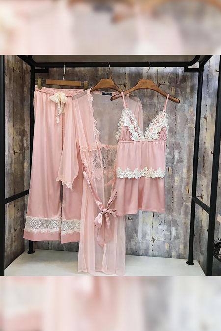 Pink Satin Lace Net 3 Piece Pyjama Set