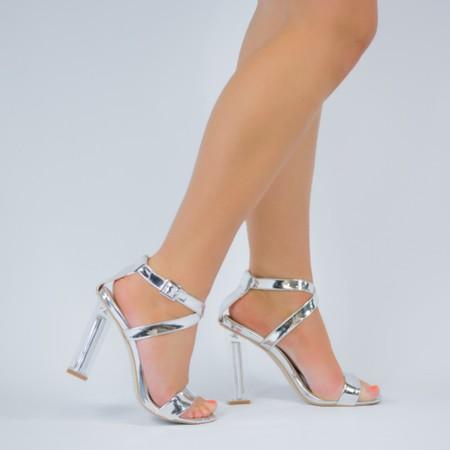 Silver Strap Clear Heels
