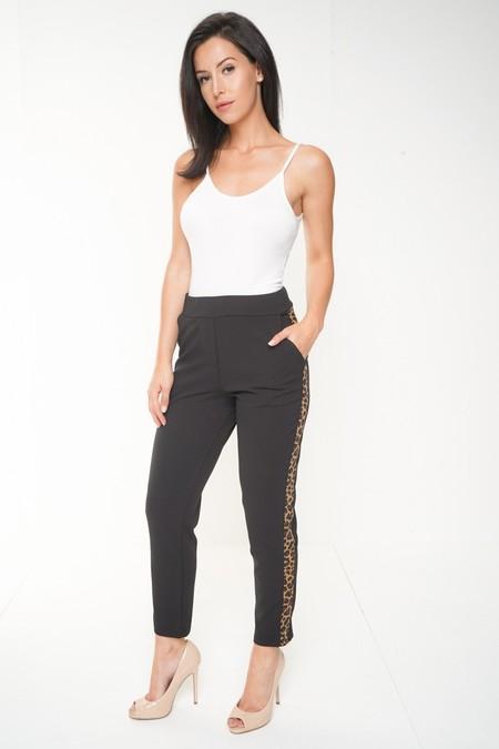 Leopard Print Side Trim Trousers
